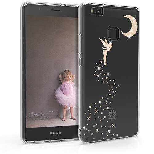 kwmobile Funda Compatible con Huawei P9 Lite - Carcasa de TPU Hada Brillante en Oro Rosa/Transparente
