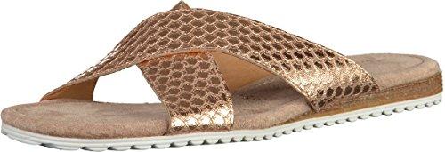 Tamaris Schuhe 1-1-27110-28 Bequeme Damen Pantolette, Sandale, Sommerschuhe für modebewusste Frau, Trend metallic (Rose METALLIC), EU 40