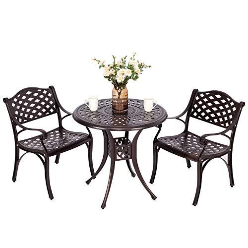 "Puluomis 31"" Outdoor Patio Retro Round Cast Aluminum Dining Table and 2 Cast Aluminum Chairs"