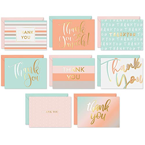 Sweetzer & Orange Essential Blank Thank You Cards with Envelopes and Card Box. 24 Thank You Notes and 3 Variety Color Thank You Card Envelopes. Notecards for Baby Shower Thanks, Wedding or Business.