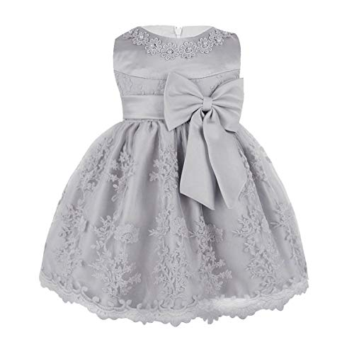 MSemis Baby Girls Embroidered Flower Dresses Christening Baptism Party Formal Dress Gray 9-12 Months (Tag No.6M)