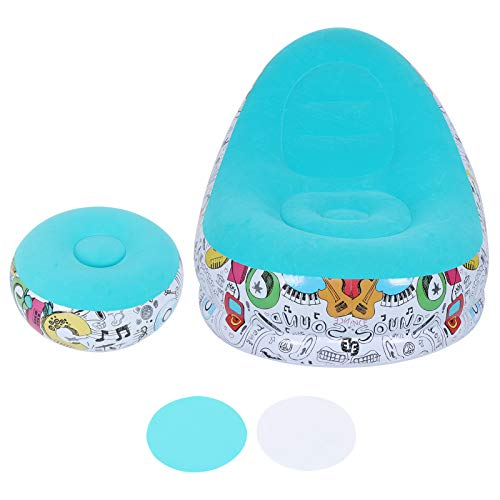 Emoshayoga Cama Inflable Plegable de la Tumbona de los Muebles de 24.4x24.4x12.2in para el balcón de la Sala de Estar(Macaron Blue, 116 * 98 * 83cm)