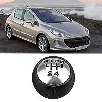 AL 5速 PU レザー ギア シフト ノブ ヘッド 対応車種: プジョー/PEUGEOT 307 308 3008 407 5008 807 ブラック シルバー AL-JJ-2865-T001