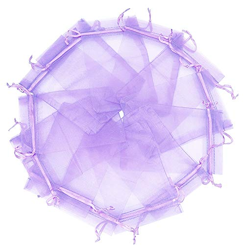Wuligirl 100pcs 3.9 by 4.7 inches Organza Bags Drawstring Wedding Party Favor Jewelry Perfume Storage Sachets Soaps Marbles Coins Buttons Gift Bag(Lilac 3x4)