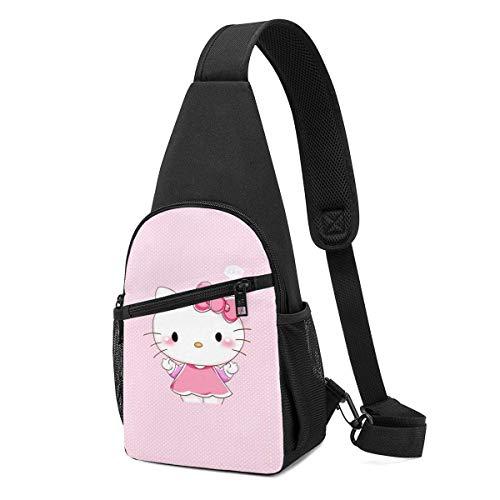 Trista Bauer Sling Bag - Pink Hello-Ki-tty Crossbody Sling Mochila Viaje Senderismo Bolsa de Pecho Mochila para Mujeres Hombres-31W