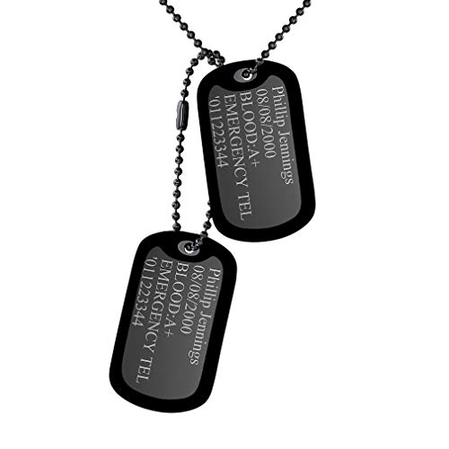 Custom4U Edelstahl Militärischen Erkennungsmarken mit Silikon Hülle Personalisiert Herrenkette mit Zwei Stücke Gleich Schwarz Dog Tag Halskette mit Kugelkette Männer Anhänger 60cm Lange