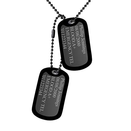 Marbete Personalizado de Mascotas Dos Unidades Colgantes Rectangulares Cadena de Bolitas 60cm Largo Placa de Identidad Negro Silicona Collar Aguila