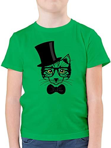 Tiermotive Kind - Katze Hipster - 152 (12/13 Jahre) - Grün - F130K - Kinder Tshirts und T-Shirt für Jungen