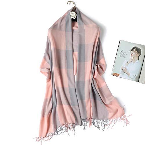 Schal Frauen Plaid Hijab Schal Lady Schals Foulard Stirnband Quaste Kaschmir-Ähnliche Winterschals Warme Weibliche Wickel Bandana 200X70Cm Wt1-6