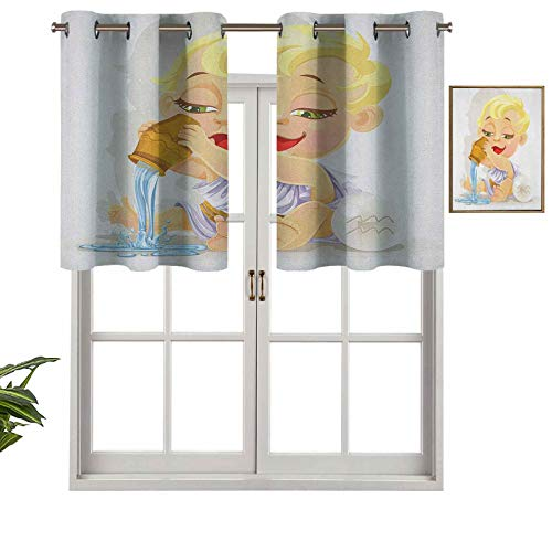 Blackout Curtain Valances, Thermal Insulated Short Grommet Curtain Panels Baby Aquarius Zodiac Icon Playing Water and Bowl Joy Magic Saturn Planet Stars, Set of 2, 54'x36' for Kitchen Bathroom