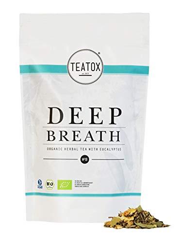 TEATOX Deep Breath 100% natürlicher Bio Kräutertee mit Eukalyptus, Ingwer, Fenchel, Süßholzwurzel und Minze 60g loser Tee im hochqualitativen Grobschnitt