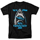 Jaws Shark Movie Bigger Boat Quote T Shirt & Stickers (X-Large) Black