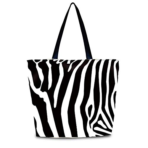 wortek Damen Einkaufstasche große Handtasche Designer Umhängetasche Shopper aus wasserfestem Nylon mit Reißverschluss Strandtasche Bag stabile und umweltfreundliche Henkeltasche Schultertasche Zebra