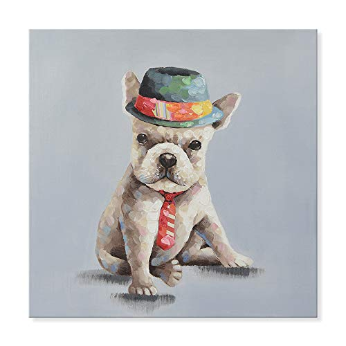 SEVEN WALL ARTS - 100% Hand Painted Oil Painting Animal Cute Colorful Gentleman Dog with Stretched Frame for Home Decor 24 x 24 Inch