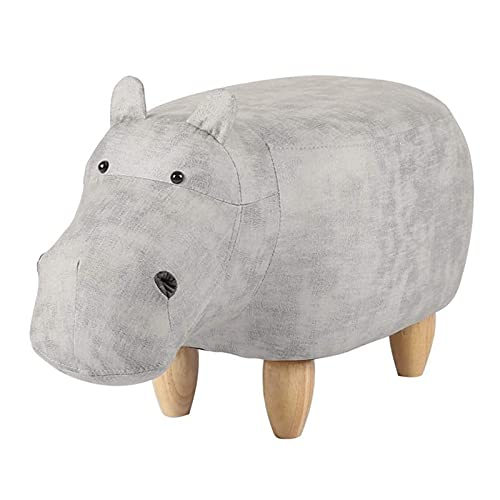 HHXX Reposapiés pequeño con Forma de hipopótamo, Reposapiés tapizado con Asiento otomano Acolchado, Reposapiés con puf Asiento con 4 Patas de Madera (Color: Gris)