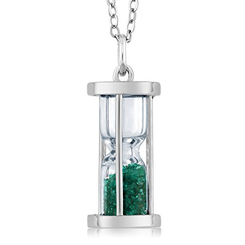 Gem Stone King Sterling Silver Hourglass Pendant with 0.75 Ct Emerald Dust & 18inches Chain