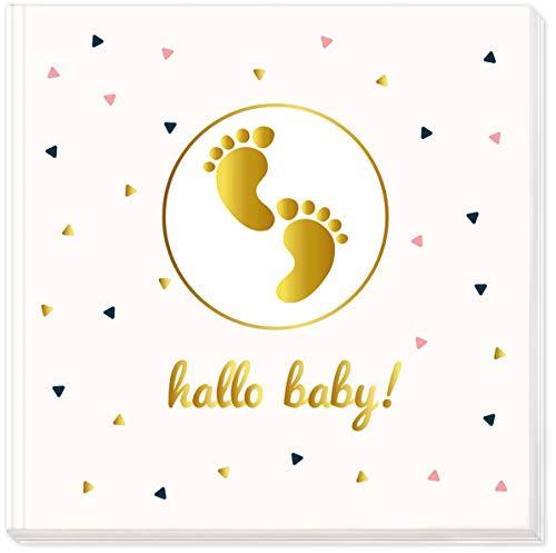 """Baby Album """"Hallo Baby!"""" Erste Schritte mit hochwertigem Hardcover Einband im Format 21x21cm - 144 weiße Blankoseiten - von Sophies Kartenwelt"""