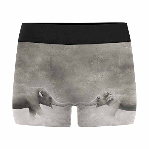 INTERESTPRINT Boxer Briefs Men's Underwear Couple of Elephants Who Keeps with Their Trunks Like a Lovers in Black and White and a Surreal M