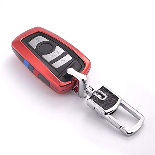 YJLOVK para la Cubierta de la Caja de la Llave del Coche para BMW 520525 f30 f10 F18 118i 320i 1 3 5 7Series X3 X4 M3 M4 M5 E34 E90 E60 E36 Fob Llavero Car Styling, Conjunto Rojo