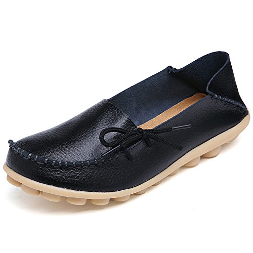 Alicegana Women's Comfortable Shoes Loafer Casual Leather Natural Driving Fashion Flats Breathable Nurse Walking Ladies Slip On Shoes