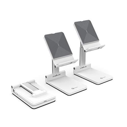 Tounee Handy Ständer faltbar, höhenverstellbar Tablet Halterung, Tisch Handy Halterung für iPhone XS Max, Xs, XR, X, 8, 7, 6 Plus, iPad Air, Mini und 4-8 Zoll Device (weiß)