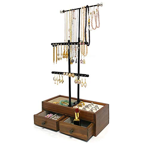 Jewelry Organizer Tower Hanging Long Necklaces by Adjustable Height -3 Tiers Metal Jewelry Tree Stand with Wooden Drawer Storage Box to Display Cosmetic, Bracelets, Earrings, Rings and Watches