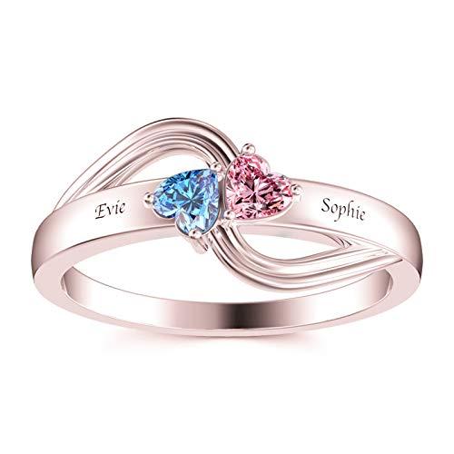 Anillo con nombre personalizado Personalización 2 anillos con piedra natal Anillo en forma de corazón Anillo de promesa(Chapado en oro rosa de 18 k 15)