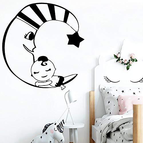 Tianpengyuanshuai Creative Moon and Children Wall Stickers Home Decoration Wallpaper Vinyl Sticker 65X42cm