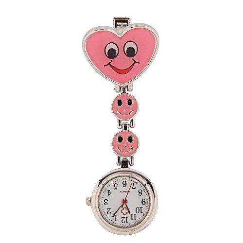 SSITG Schwesternuhr Smiley Krankenschwester Uhr Pulsuhr Pflegeuhr Taschenuhr Uhr