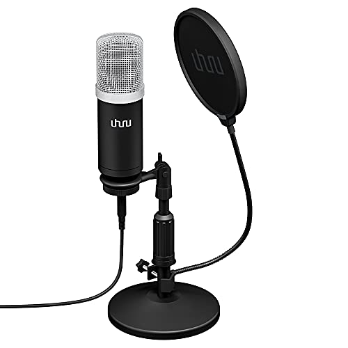 Microfono USB, uhuru Professional 192KHZ / 24Bit Studio Kit Microfono Registrazione Condensatore Cardioide con Scheda Audio Supporto da Tavolo Filtro Pop, per la Registrazione di Giochi Skype Youtuber