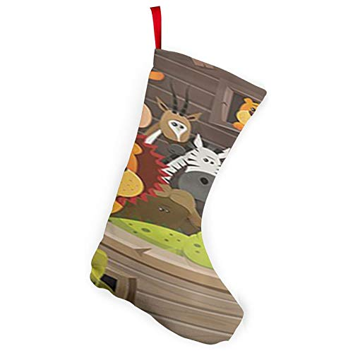 ~ Animals Inside Noah's Ark with Lion Elephant Giraffe Christmas Pack Stockings for Xmas Holiday Party Decor100% Polyester Brushed Cloth