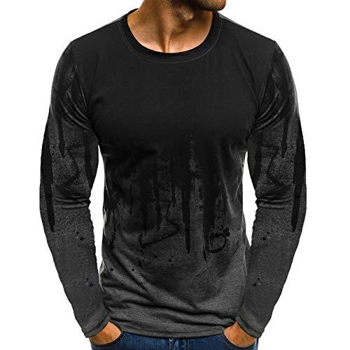 Herr t-shirt trendig rund hals topp långärmad sport fitness pullover för pojkar och män