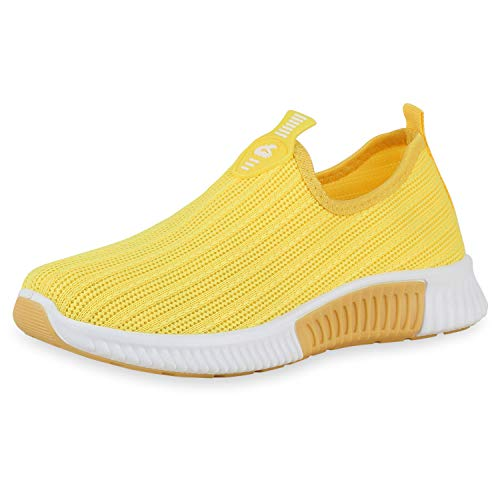 SCARPE VITA Damen Sportschuhe Slip Ons Strick-Optik Flache Profilsohle Freizeit Schuhe Sportliche Schlupfschuhe Bequeme Turnschuhe 195379 Gelb Yellow 36