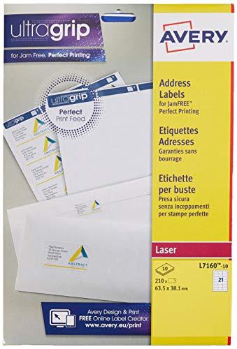 Avery L7160 - Etichette autoadesive per indirizzi, per stampanti laser, 21 etichette per foglio A4, 210 etichette, UltraGrip