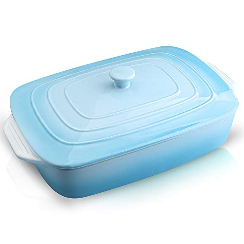 Joyroom Porcelain Covered Rectangular Casserole Dish, Baking dish with Lid for Dinner, Kitchen, 9 x 13 Inches, Banded Collection (Gradient Baby Blue)