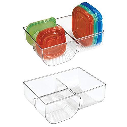 mDesign 2er-Set Deckelhalter – zur Lagerung von bis zu 76 Deckeln Ihrer Einmachgläser, Brotdosen etc. – senkrechte Deckelaufbewahrung für Ordnung in der Küche – durchsichtig
