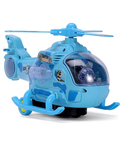 VNC Plastic 360 Degree Rotation Musical and 3D Lights Helicopter Toy for 2-5 Year Kids (Blue)