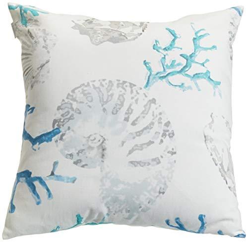 APELT Kissenhülle 4056 Farbe 10, moderner und trendiger Kissenbezug im Loft Design, hochwertige und schicke Zierkissenhülle mit Muscheln bedruckt in Weiß-Blau,  Größe 49x49 cm