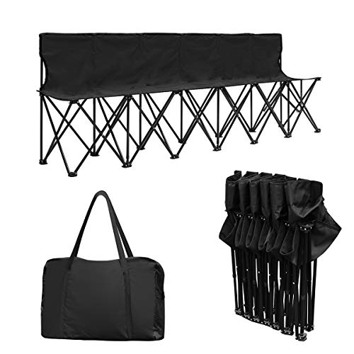 Giantex Portable 6 Seats Folding Chair Bench Outdoor Sports Camping W/Carrying Bag (Black)
