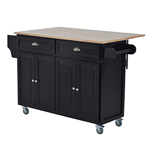 HOMCOM Rolling Kitchen Island on Wheels Ultility Cart with Drop-Leaf and Rubber Wood Countertop, Storage Drawer, Door Cabinet, Black