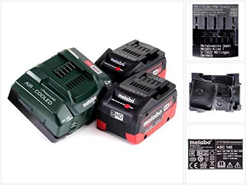 Metabo Akku Basis Set (2x 5,5 Ah Werkzeugakku inkl. Ladegerät ASC 145, Ersatzakku 18 V, für Elektrowerkzeuge) 685122000