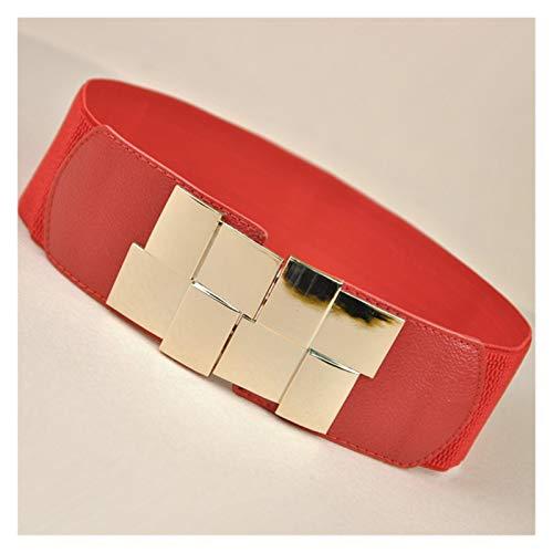 Cinturones de Mujer, Cinturón Ancho Cintura Ancha de cinturón Multicolor Cuadrado Hebilla Vestido Decorativo Cinturón Decorativo Slim Elastic Belt BigSweety (Color : Rojo)