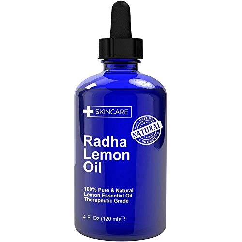 Radha Beauty Lemon Essential Oil 4oz - 5X Extra Strength 100% Pure & Natural Therapeutic Grade - Steam Distilled Premium Quality Oil…