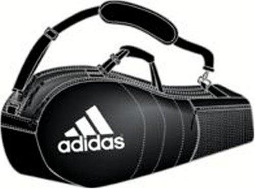 adidas Tour 6 Schlägertasche (Schwarz/Aluminium/Weiß, 76,2 x 25,4 x 33 cm)