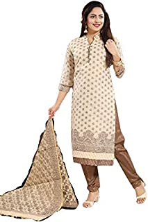 PC Chandan Creation Woven Chanderi Cotton Straight Suit in Off White