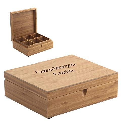 Teebox mit Wunschtext personalisierbar 12 Fächer - Gravur