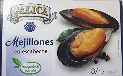 Mejillones en escabeche 8/12 piezas PACK 6 LATAS Galica