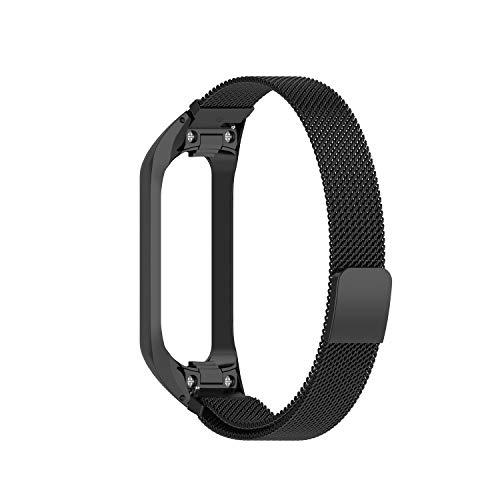 QULLOO per Samsung Galaxy Fit 2 SM - R220 Cinturino,sgancio rapido Orologio in Acciaio Inossidabile Bracciale in Metallo per Donna e Uomo (Nero)