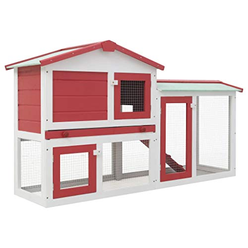 Festnight Clapier Large d extérieur pour Lapins - Clapier Lapin 2 Etages 145x45x85 cm en Bois - Clapier Cochon Dinde Rouge et Blanc