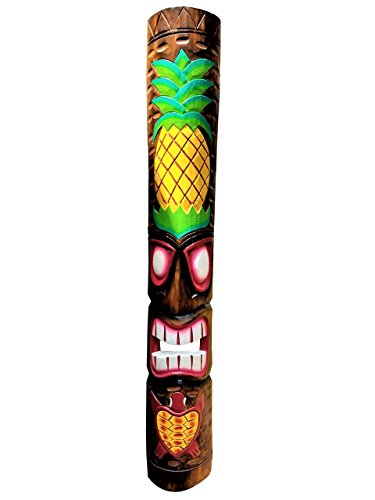 "All Seas Imports Exquisite Detailed 39.5"" Handcarved Vibrant Colors Pineapple &Turtle Wood Tiki Mask"